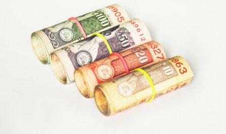 Bankovky s gumičkou představující veřejný dluh.